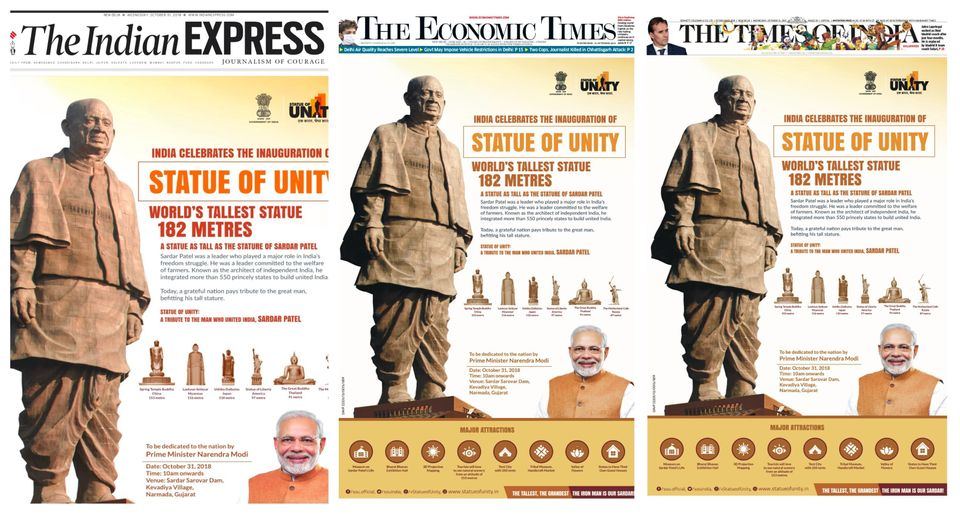 A screenshot of front page advertisements in the Delhi editions of three big English newspapers on October...