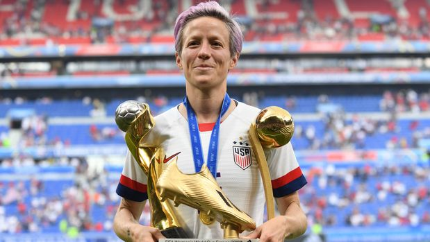 Megan Rapinoe (Reign FC) of United States whit her trophys celebrates after winning the 2019 FIFA Women's World Cup France Final match between The United State of America and The Netherlands at Stade de Lyon on July 7, 2019 in Lyon, France. (Photo by Jose Breton/NurPhoto via Getty Images)