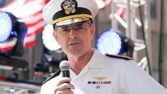 ROCKEFELLER CENTER, NEW YORK, UNITED STATES - 2019/05/25: Admiral Bill William Moran speaks on stage during Side by Side Celebration of Service concert at Rockefeller Center. (Photo by Lev Radin/Pacific Press/LightRocket via Getty Images)