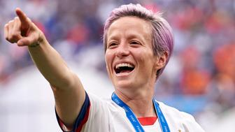 LYON, FRANCE - JULY 07: Megan Rapinoe of the USA celebrates winning the final after the 2019 FIFA Women's World Cup France Final match between Winner The United States of America and Netherlands at Stade de Lyon on July 7, 2019 in Lyon, France. (Photo by Quality Sport Images/Getty Images)