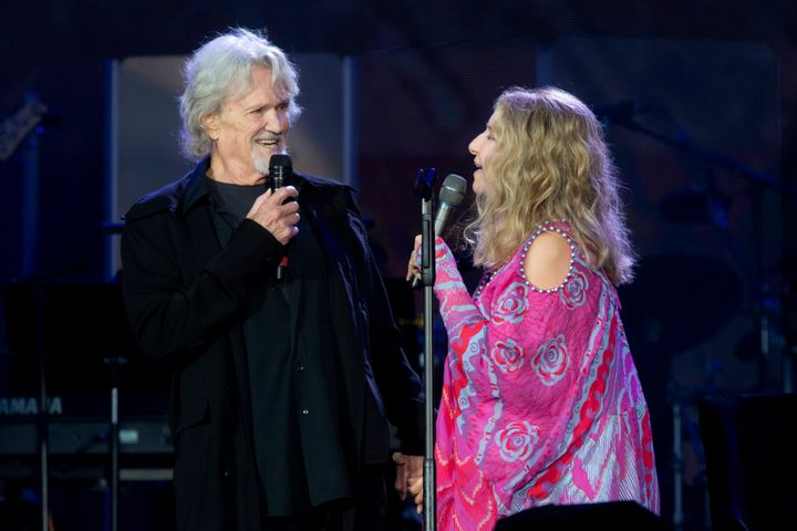 Barbra Streisand performed with Kris Kristofferson during British Summer Time Hyde Park in London, England.