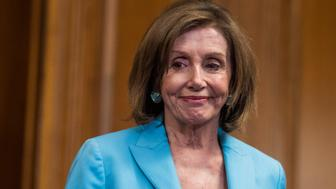 """UNITED STATES - JUNE 26: Speaker Nancy Pelosi, D-Calif., is seen at an event with House and Senate Democrats in the Capitol before a House vote on the """"Securing America's Federal Elections (SAFE) Act of 2019,""""on Wednesday, June 26, 2019. (Photo By Tom Williams/CQ Roll Call)"""