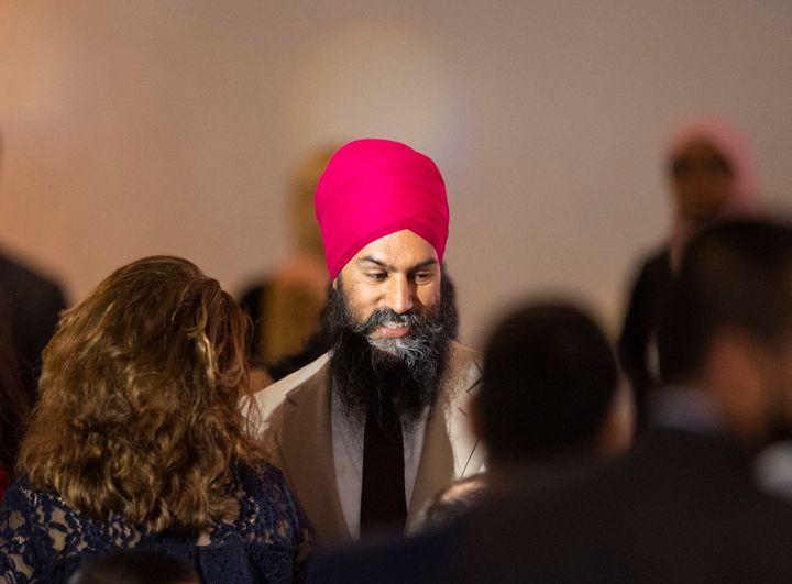 NDP Leader JagmeetSinghtalks to people during the Eid Dinner hosted by The Canadian-Muslim Vote in Toronto, on June 21, 2019.