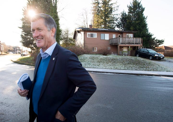Former NDP MP Svend Robinson addresses the media outside his childhood home in Burnaby, B.C. on Jan. 15. 2019.