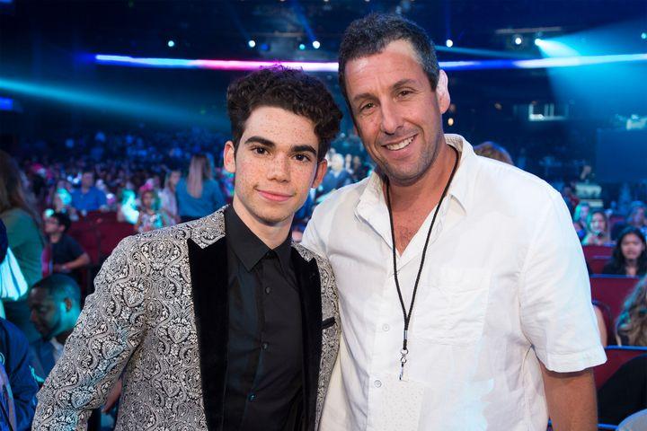 Cameron Boyce and Adam Sandler pose for a photo at the 2017 Radio Disney Music Awards.