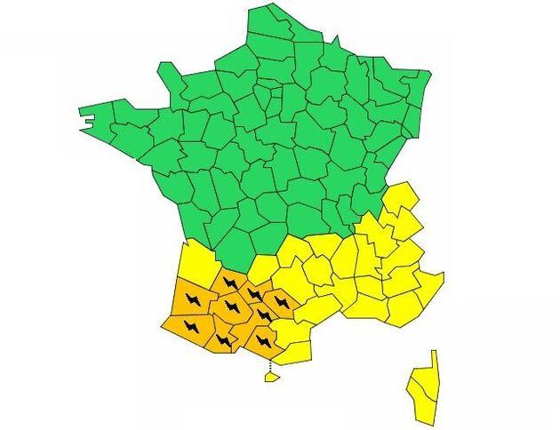 Météo France a placé neuf département en vigilance orange aux orages