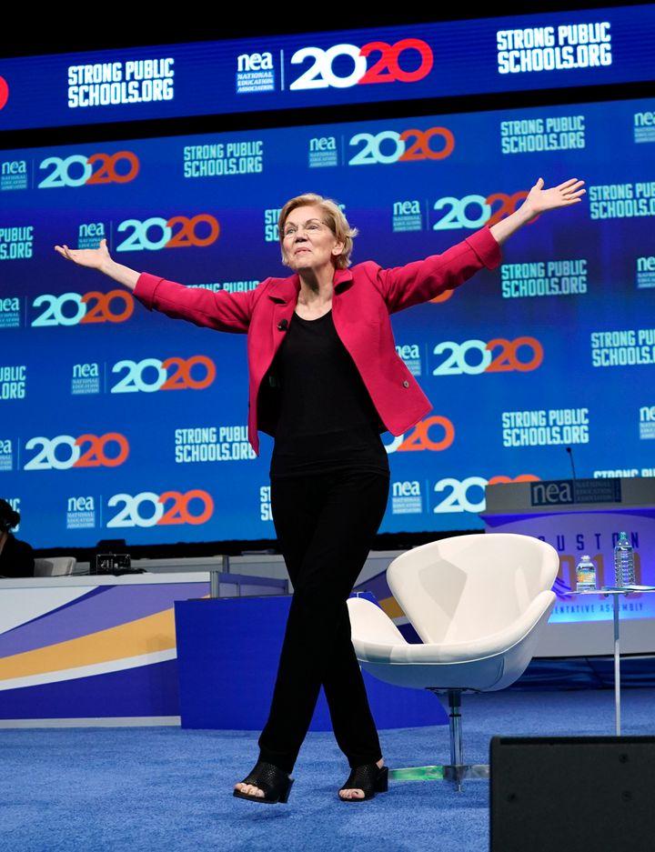 Massachusetts Sen. Elizabeth Warren's presidential campaign now has $19.7 million on hand.