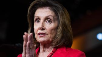UNITED STATES - JUNE 27: Speaker Nancy Pelosi, D-Calif., conducts her weekly news conference in the Capitol Visitor Center on Thursday, June 27, 2019. (Photo By Tom Williams/CQ Roll Call)