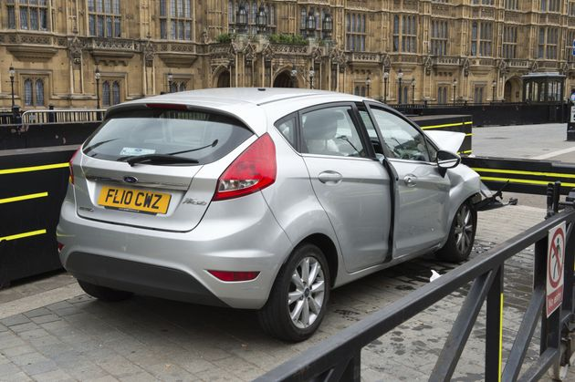 A silver Ford Fiesta after it crashed outside the Houses of Parliament in a suspected terror attack last