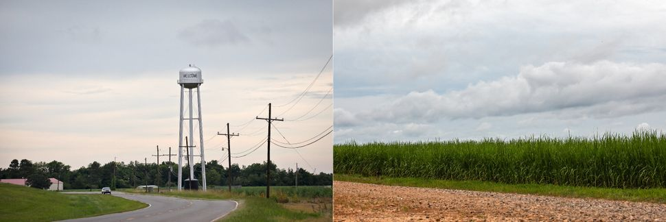 LEFT: Water tower in Welcome, Louisiana near the site of Formosa's planned petrochemical complex. RIGHT:...
