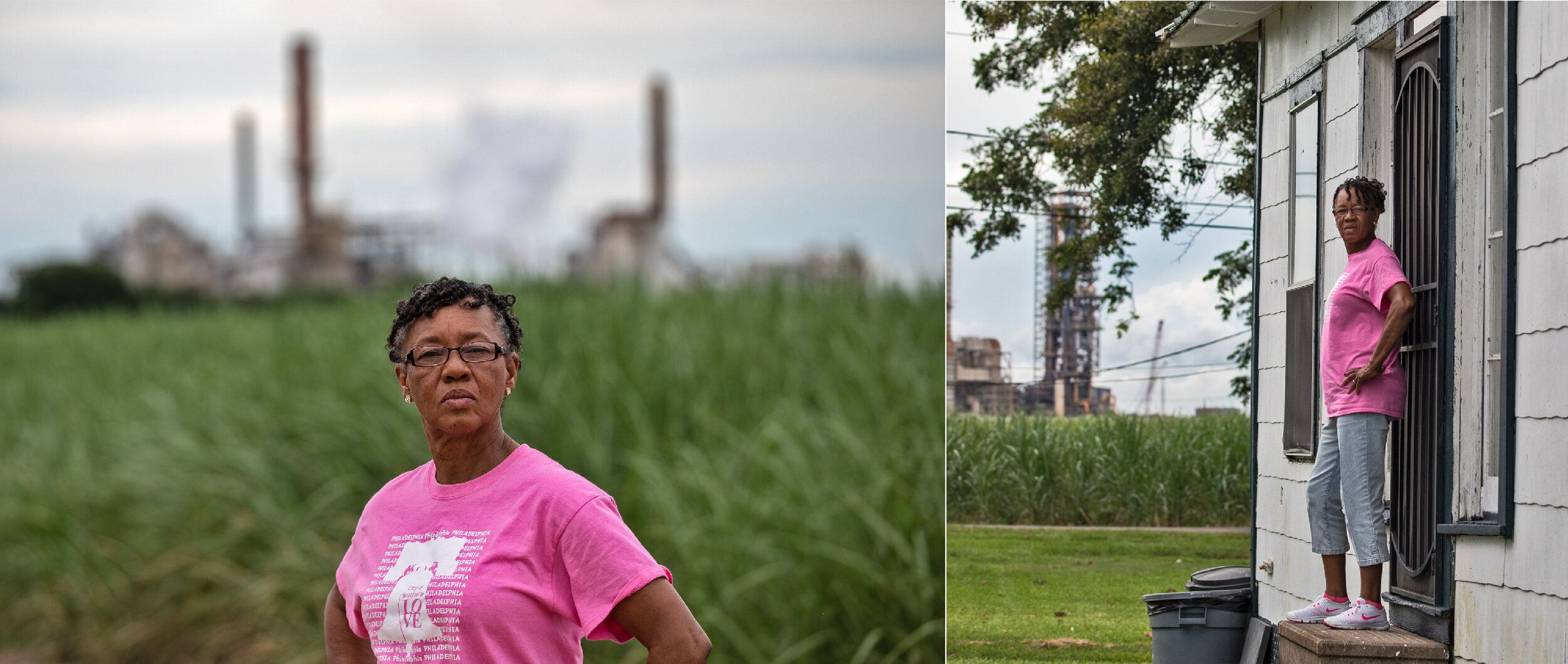 LEFT: Barbara Washington in front of a sugar cane field next to Mosaic's chemical plant in Convent, Louisiana. RIGHT: Ba