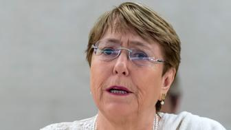 U.N. High Commissioner for Human Rights Chilean Michelle Bachelet, talk about the situation of human rights in Venezuela, during the 41th session of the Human Rights Council, at the European headquarters of the United Nations in Geneva, Switzerland, Friday, July 05, 2019. (Martial Trezzini/Keystone via AP)