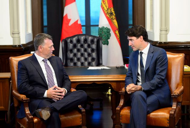 Prime Minister Justin Trudeau meets with P.E.I. Premier Dennis King on Parliament Hill in Ottawa...
