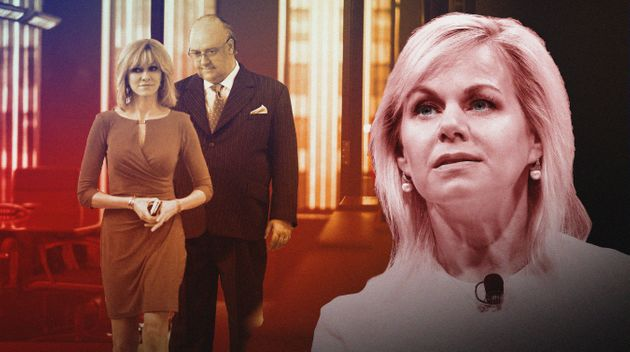 Naomi Watts as Gretchen Carlson and Russell Crowe as Roger Ailes in