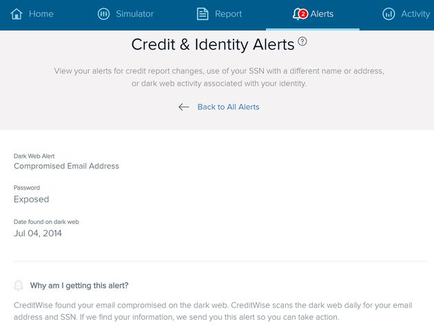 Capital One's free credit monitoring service alerts users that their password was exposed on the dark