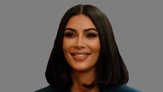 Kim Kardashian West headshot, as tv personality, graphic element on gray