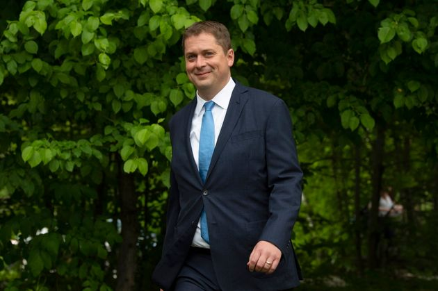 Conservative Leader Andrew Scheer arrives to deliver a speech on the environment in Chelsea, Que. on...