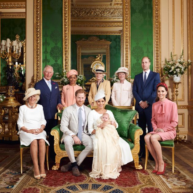 The family gathered for a group photo at Archie's christening in the Green Drawing Room at Windsor Castle...
