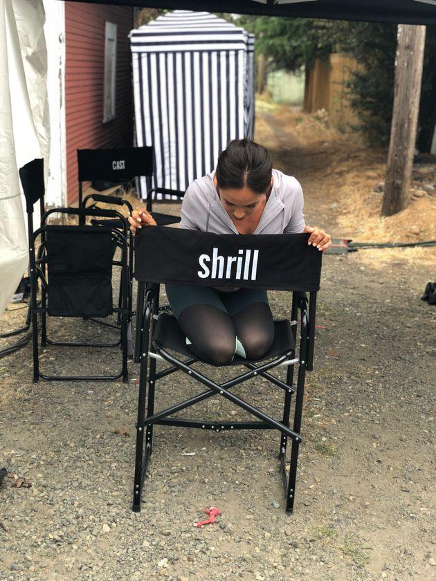 In between shooting scenes in
