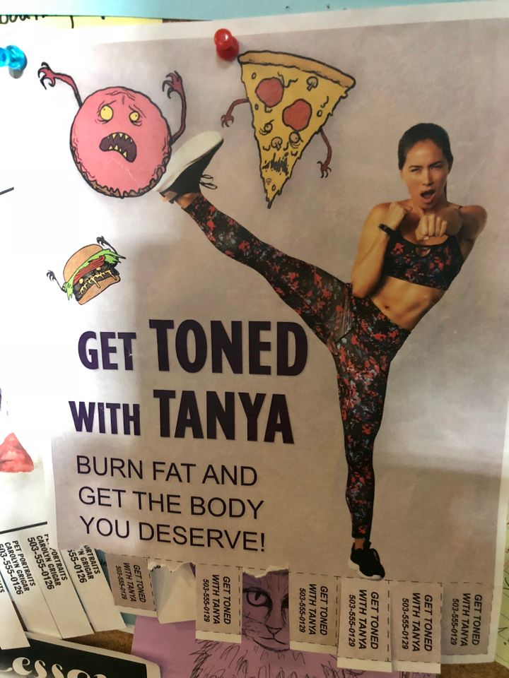 The flyer on set for Toned Tanya's training
