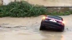 Tafalla (Navarra), inundada al desbordarse el río