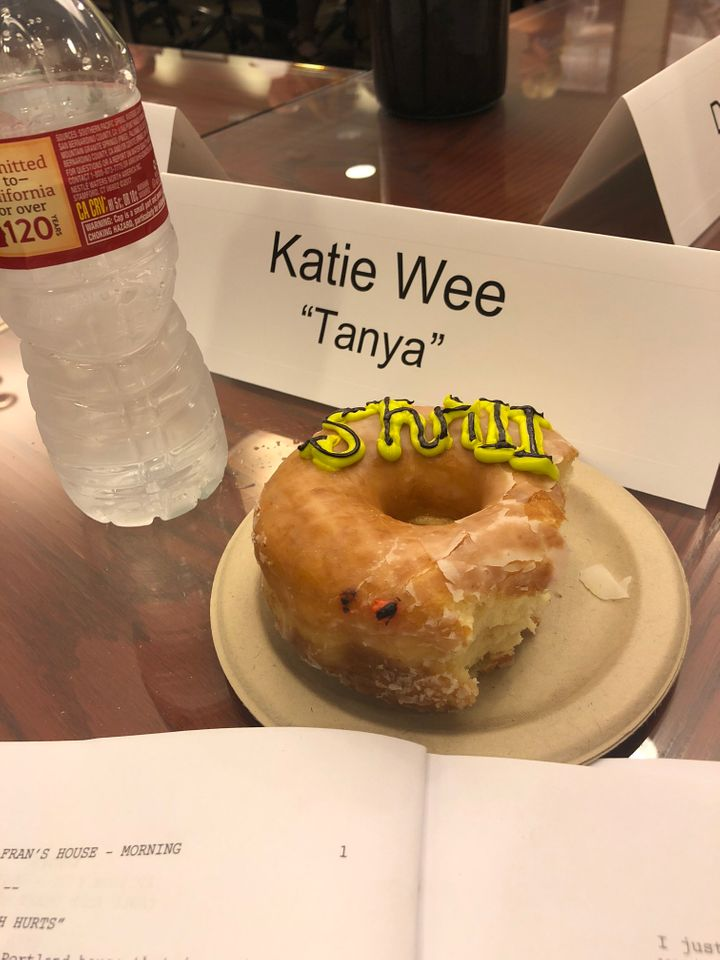 My place at the table during the table read.