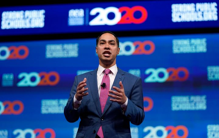 Democratic presidential candidate and former Housing Secretary Julian Castro speaks at a National Education Association forum