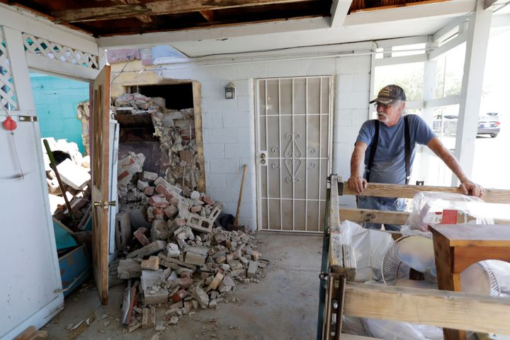 Friday's 7.1 magnitude quake collapsed a chimney in a home in Trona, California.