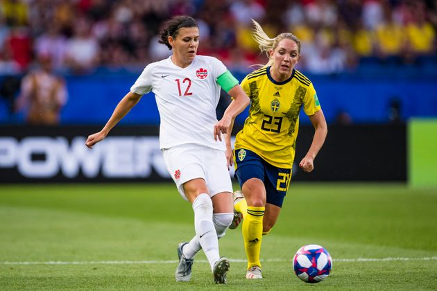Christine Sinclair during Canada's 2019 FIFA Women's World Cup Round Of 16 match against