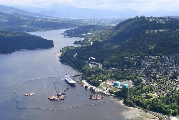 A aerial view of Kinder Morgan's Trans Mountain marine terminal, in Burnaby, B.C. on May...
