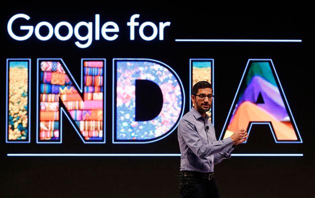 Google CEO Sundar Pichai addresses a news conference in New Delhi on 16 December