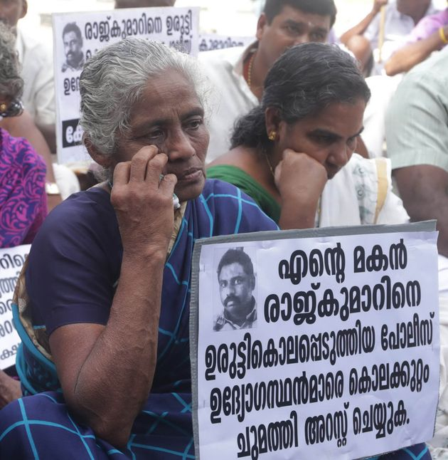 Rajkumar's mother taking part in a protest in