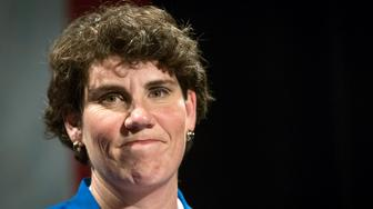 FILE - In this Nov. 6, 2018, file photo,  Amy McGrath speaks to supporters in Richmond, Ky. McGrath, a Marine combat aviator who narrowly lost a House race to an incumbent Republican in Kentucky, has set her sights on an even more formidable target: Senate Majority Leader Mitch McConnell. (AP Photo/Bryan Woolston, File)