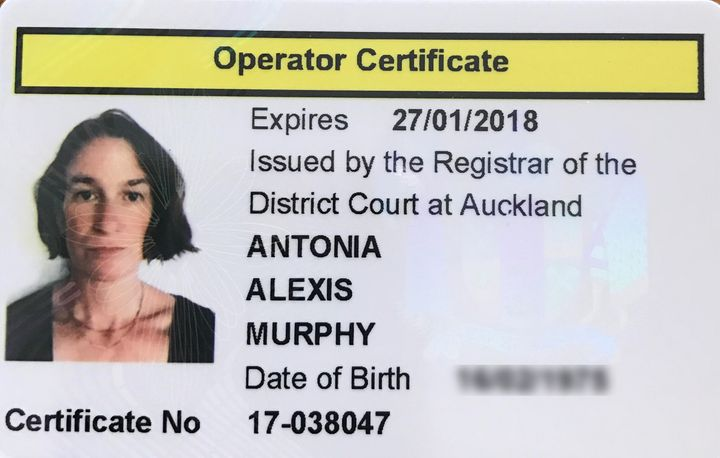 "Murphy's operator certificate for her escort agency — or, as she puts it, ""my license to pimp."""