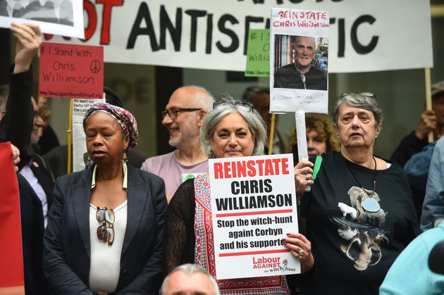 Protesters outside the Labour Party head office in London on Tuesday as the NEC meets to review MP Chris...