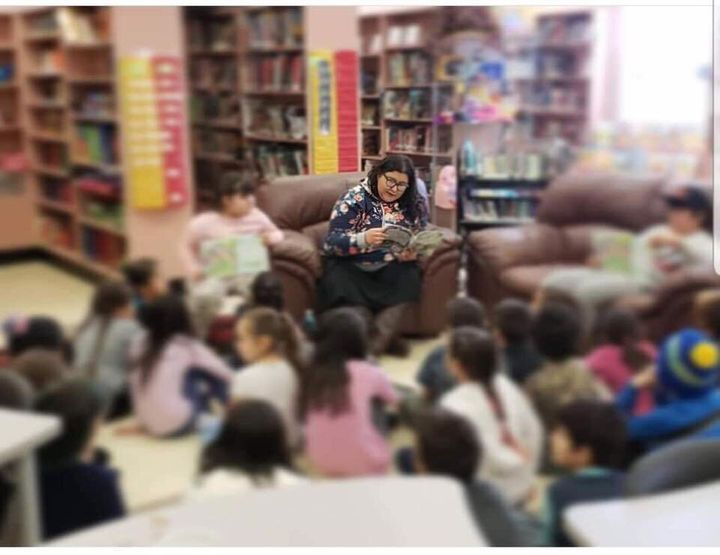 Durocher at a recent school library event, where students from kindergarten to grade six listened to her read her first book.
