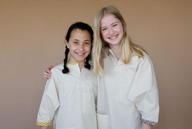Blouses d'hôpital en coton bio pour enfants, fournies avec un feutre textile pour les