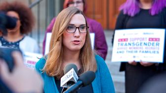 IMAGE DISTRIBUTED FOR HUMAN RIGHTS CAMPAIGN - Sarah McBride, National Press Secretary for the Human Rights Campaign speaks to reporters after appearing before the U.S. Court of Appeals for the Ninth Circuit to urge the court to uphold a district court ruling barring implementation of the Trump Administration's effort to ban transgender people from serving openly in the U.S. Armed Services on Wednesday, Oct. 10, 2018, in Portland, Ore. (Craig Mitchelldyer/AP Images for Human Rights Campaign)