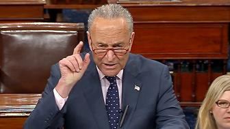 In this image from Senate Television, Senate Minority Leader Chuck Schumer, D-N.Y., talks on the Senate floor, Tuesday, June 9, 2019 on Capitol Hill in Washington. Schumer and a growing collection of congressional Democrats say President Donald Trump's labor secretary should quit. Alexander Acosta was a federal prosecutor in 2008 when he was involved in a plea deal that let billionaire financier Jeffrey Epstein escape prison time for alleged sex crimes.  (Senate Television via AP)