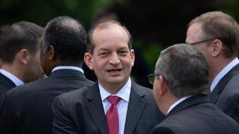 U.S. Secretary of Labor Alex Acosta, attends President Donald Trump's unveiling of a new legal immigration proposal, which would prioritize high-skilled immigrants and restrict family-based migration, in the Rose Garden of the White House, on Thursday, May 16, 2019. (Photo by Cheriss May/NurPhoto via Getty Images)