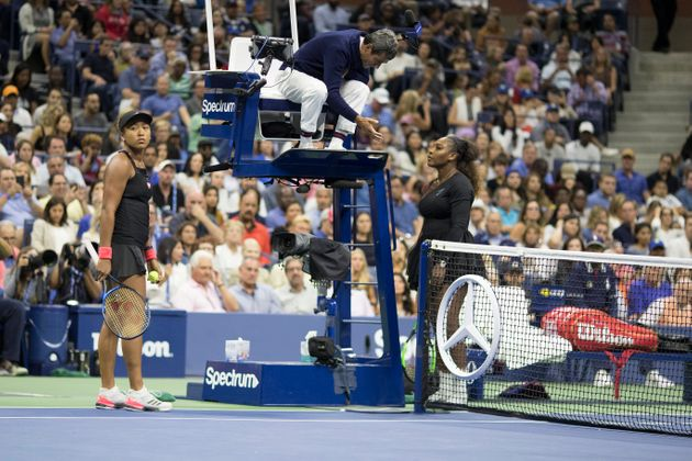 Serena Williams confronted chair umpire Carlos Ramos after he assessed her a one-game penalty in her...