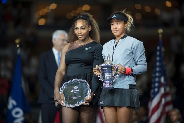 Osaka holds winner's trophy, Williams the runner-up award after their face-off last