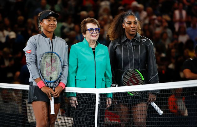 Osaka and Williams pose with tennis legend Billie Jean King before their U.S. Open