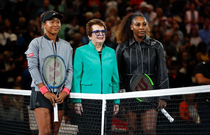 Osaka and Williams pose with tennis legend Billie Jean King before their U.S. Open match.