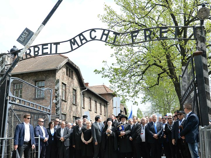 "Politicians leading the Holocaust remembrance ""March of the Living"" for the six million for Holocaust victims walk through th"