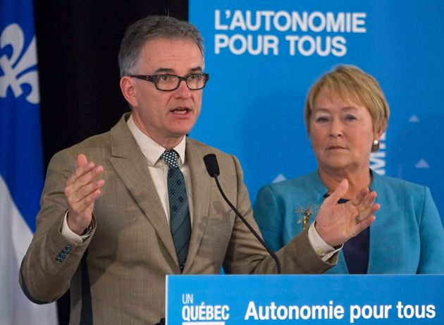 RejeanHebert speaks in Quebec City on May 30, 2013, as then-Quebec Premier Pauline Marois