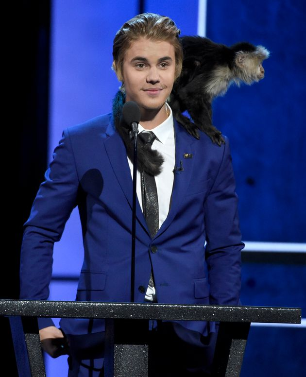 Justin Bieber with the unlucky monkey in