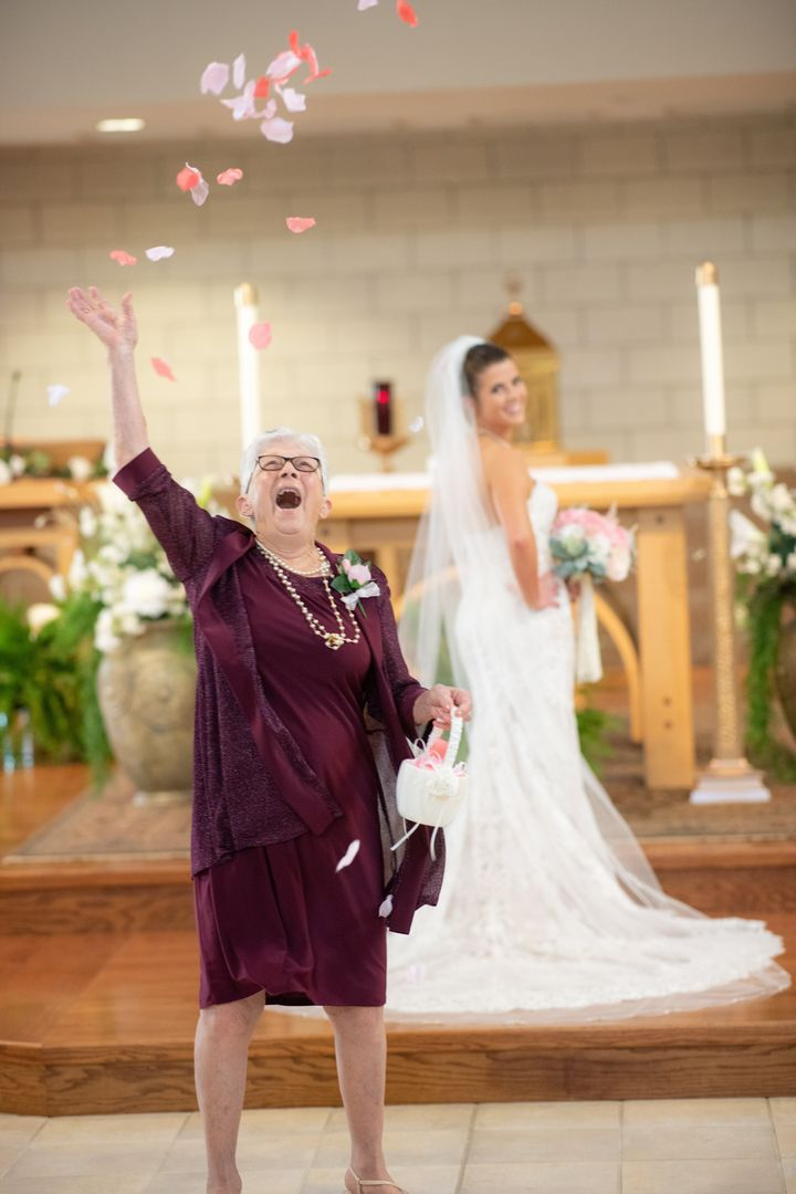 Grandma tossed those petals with such enthusiasm.