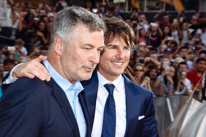 "Alec Baldwin and Tom Cruise at the premiere of ""Mission Impossible: Rogue Nation"" in New York on July 27, 2015."