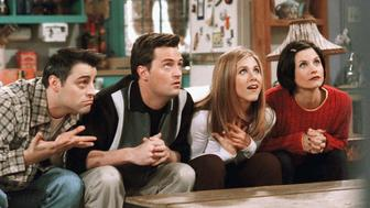 "FRIENDS -- ""The One With The Embryos"" -- Episode 12 -- Aired 1/15/1998 -- Pictured: (l-r) Matt Le Blanc as Joey Tribbiani, Matthew Perry as Chandler Bing, Jennifer Aniston as Rachel Green, Courteney Cox as Monica Geller  (Photo by NBC/NBCU Photo Bank via Getty Images)"